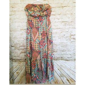 Torrid Tube Ruffle Top Tribal Print Empire Dress